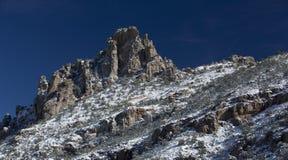 Schnee wischt Catalina Mountain-Spitze auf Mt ab Lemmon Stockbild