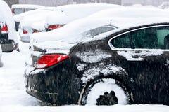 Schneebedeckte Autos im Parkplatz Stockfotos