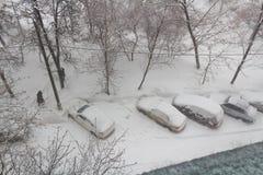 Schneebedeckte Autos im Parkplatz in einem Schneesturm Lizenzfreie Stockfotos