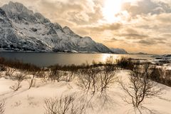 Schneebedeckte Berge im Winter stockbild