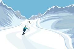 SCHNEEBEDECKTE BERGE Snowboarder rollen entlang einer Gebirgsstraße Vektor Stockbilder