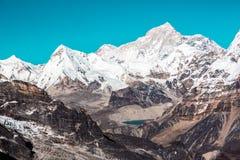Schneebedeckte Bergspitzen Rocky Valleys und See-Panoramablick lizenzfreies stockbild