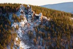 Schneebedeckte Felsen im Holz stockfotos