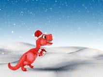 schneebedeckte Landschaft 3D mit dem netten Dinosaurier, der ein Geschenk trägt Lizenzfreies Stockfoto