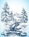 Schneebedeckte Landschaft des Winters Stockfotografie