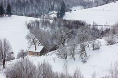 Schneebedeckte Landschaft des Winters des transylvanian Dorfs Stockfotografie