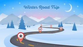 Schneebedeckte Landschaft des Winters mit Bahn 16x9 der kurvenreichen Straße Neues Jahr vektor abbildung