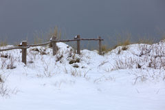 Schneebedeckte Landschaft am Knokke-bewaffneten Raubüberfall Lizenzfreie Stockfotos