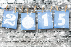 Schneebedeckte Papierzahlen von neuem 2015 mit Schnee Lizenzfreies Stockfoto
