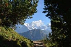 Schneebedeckte Spitzen der Alpen in der Schweiz jungfrau Schynige Platte lizenzfreie stockfotos