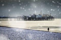 Schneebedeckte Szene Brighton-Piers und -Seeseite Lizenzfreies Stockfoto