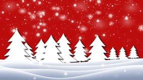 schneebedeckten Niederlassungen und Bäumen oben betrachten, Winterhintergrund stock video footage