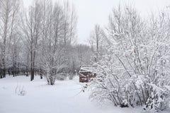 Schneebedeckter Winterpark und -bänke Park und Pier für die Fütterung Stockfotos