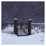 Schneebedecktes Dorf des Winters in Russland stockbilder