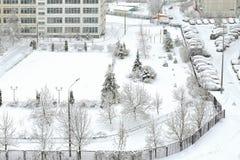 Schneebedecktes Moskau Schwere Schneefälle und Blizzard Russland Lizenzfreie Stockfotos