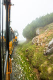 Schneeberg train going up the mountain in lower Austria Royalty Free Stock Photos