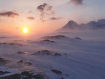 Schneeblizzard bei dem Sonnenuntergang - Arktis Stockbilder