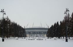 Schneeblizzard und -stadion auf der Krestovsky-Insel Lizenzfreie Stockfotos