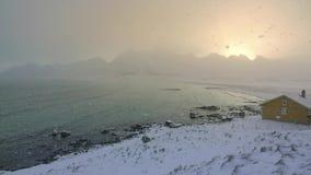 Schneefälle über dem Fjord und dem Wind Langsame Bewegung stock video