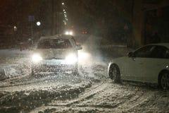 Schneefälle auf den Straßen von Velika Gorica, Kroatien Lizenzfreie Stockfotografie