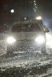 Schneefälle auf den Straßen von Velika Gorica, Kroatien Lizenzfreies Stockfoto