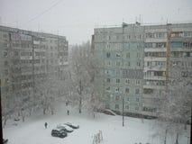 Schneefälle in der Stadt Stockfoto
