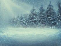 Schneefälle in der Waldheiligen nacht Hintergrund des neuen Jahres Querstation Stockbild