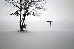 Schneefälle an getrenntem Strand Stockbild