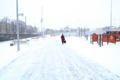 Schneefälle im Stadtpark-Winterhintergrund Winter in der Stadt Stockbilder