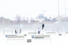 Schneefälle im Stadtpark-Winterhintergrund Winter in der Stadt Lizenzfreies Stockfoto