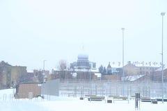 Schneefälle im Stadtpark-Winterhintergrund Winter in der Stadt Stockfotografie