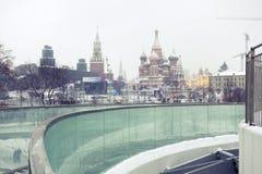 Schneefälle in Moskau, Russland Russischer Winter Lizenzfreies Stockbild