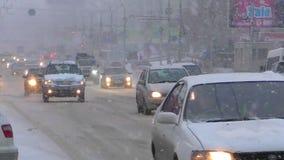 Schneefälle in Nowosibirsk stock footage