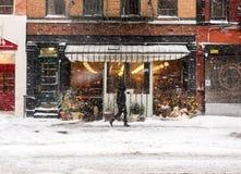 Schneefälle in NYC Stockbild