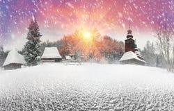 Schneefälle in Pirogovo Stockbilder