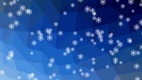 Schneefallanimation, die Schneeflocken, die auf polygonalen crystalic dunkelblauen Hintergrund fallen, Schnee fällt obliguely Win stock video footage