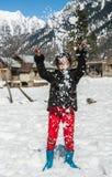 Schneefallspaß Stockfoto