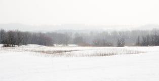 Schneefeld im Schneesturm Stockbild