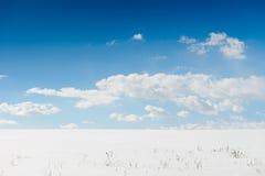 Schneefeld und blauer Himmel Lizenzfreies Stockbild