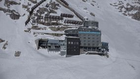 The Schneefernerhaus. A geology, glaciology and weather science research station, located just above Germany`s largest glacier on top of the Zugspitze mountain stock video footage