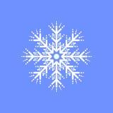 Schneeflocke auf blauem Hintergrund für Wintereinladungskarte, Vektorlogo-Ikonenschablone Lizenzfreie Stockfotografie