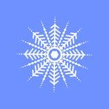 Schneeflocke auf blauem Hintergrund für Wintereinladungskarte, Vektorlogo-Ikonenschablone Stockfoto