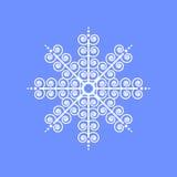 Schneeflocke auf blauem Hintergrund für Wintereinladungskarte, Vektorlogo-Ikonenschablone Lizenzfreies Stockbild