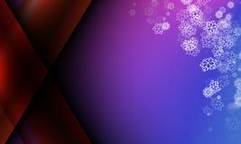 Schneeflocke auf purpurrotem blauem Farbeweihnachtsfeld Stockbild