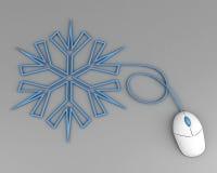 Schneeflocke bildlich dargestellt mit Computermäuseseilzug Stockfotografie