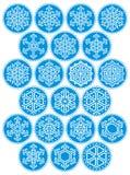 Schneeflocke-blauer runder Satz Lizenzfreies Stockbild