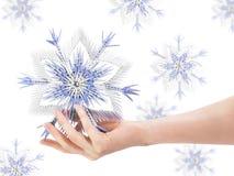 Schneeflocke in einer Hand Lizenzfreie Stockbilder