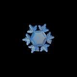 Schneeflocke lokalisiert auf schwarzem Hintergrund Stockfoto