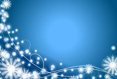 Schneeflocke und Leuchte-Blau-Hintergrund Lizenzfreies Stockfoto