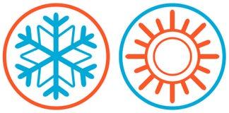 Schneeflocke und Sonne lokalisierte Ikone Lizenzfreie Stockbilder